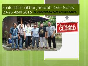 Silaturahmi akbar jamaah Dzikir Nafas 23-25 April 2015 closed