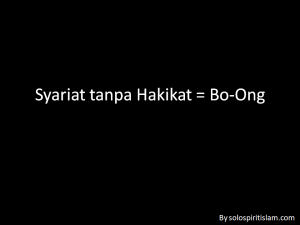 Syariat tanpa Hakikat = Bo-Ong